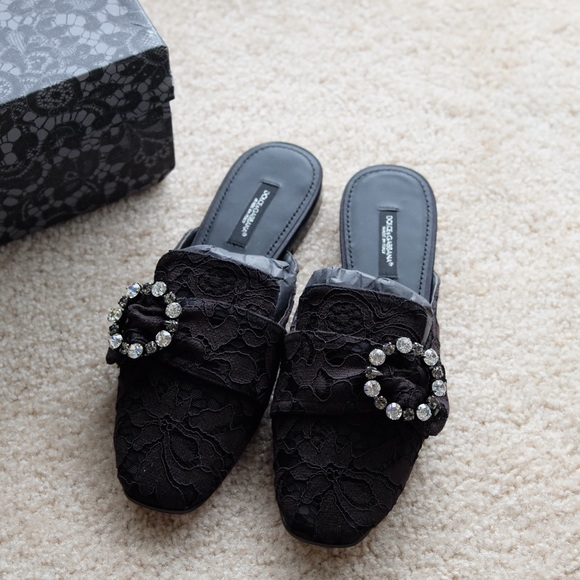82b15e9210f02 Dolce & Gabbana Shoes   Dolce Gabbana Jackie Lace Slippers Jewel ...